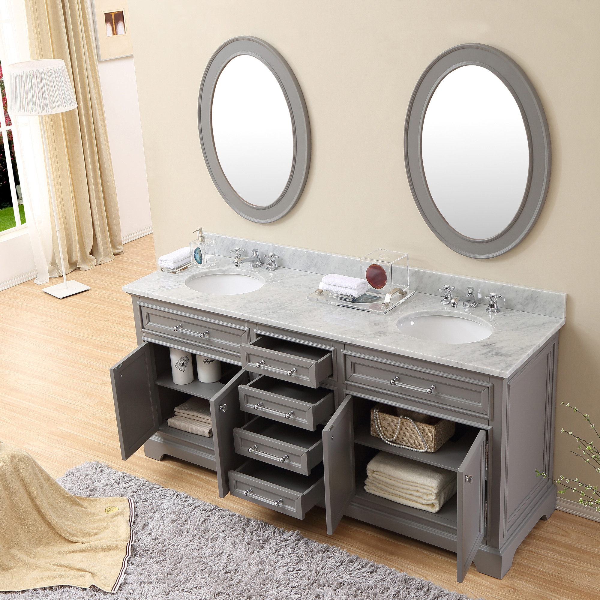 Carenton 60 inch Traditional Double Sink Bathroom Vanity Gray Finish