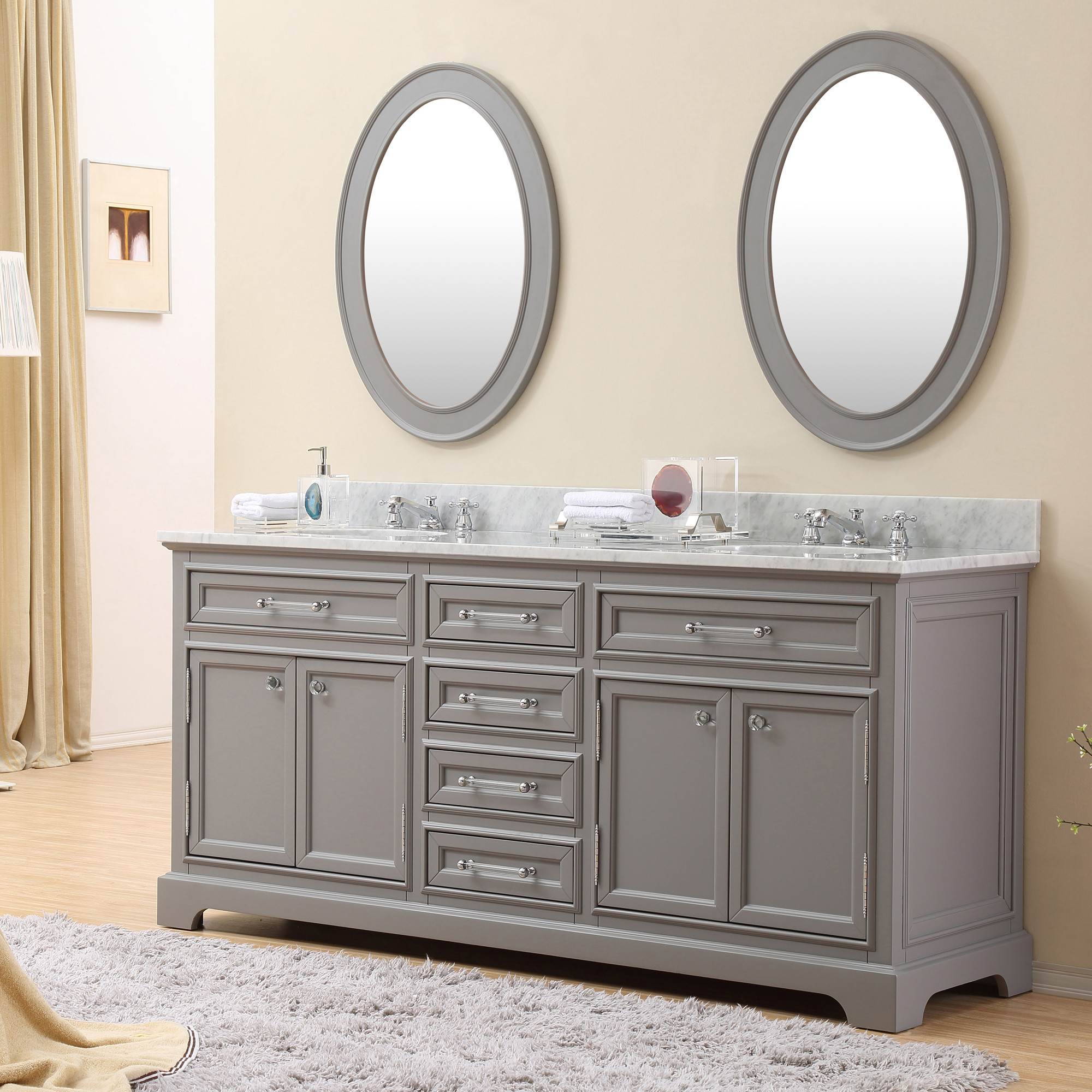 Carenton 72 inch traditional double sink bathroom vanity for Bathroom 72 double vanity