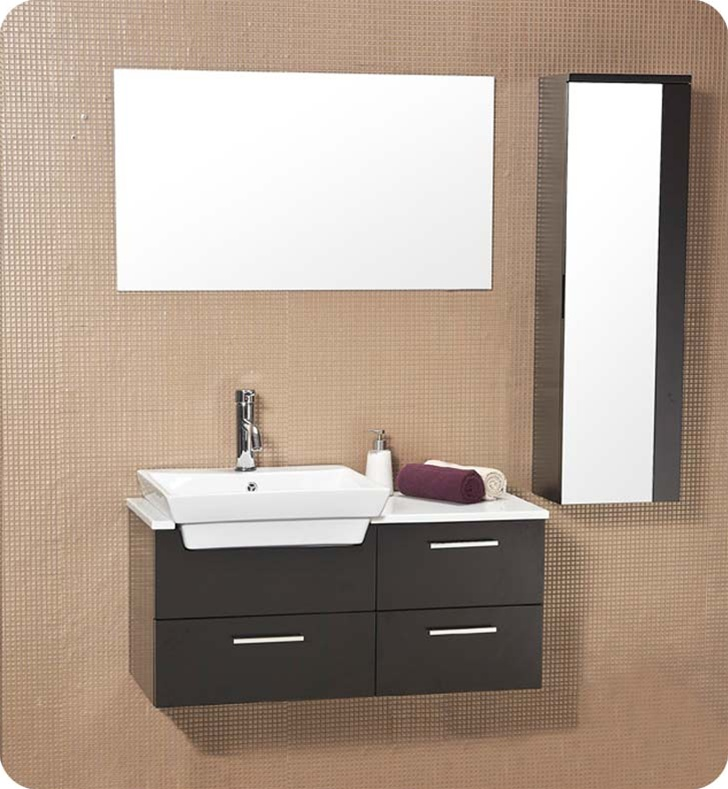 Caro 36 Inch Espresso Modern Bathroom Vanity With Mirrored Side Cabinet