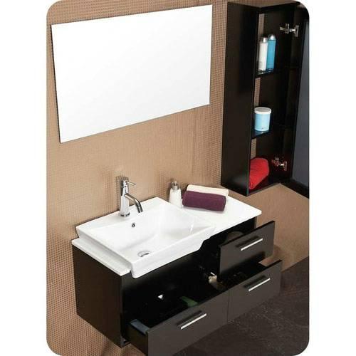 Caro 36 Inch Espresso Modern Bathroom Vanity With Mirrored Side Cabinet