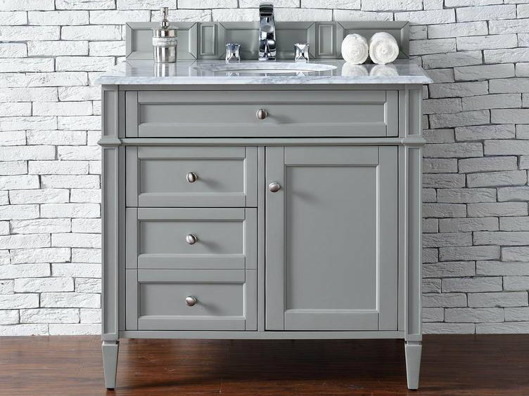 contemporary 36 inch single bathroom vanity gray finish no top