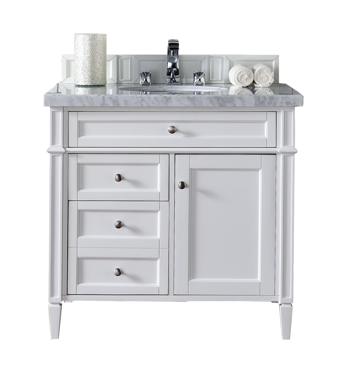 contemporary 36 inch single bathroom vanity white finish, no top