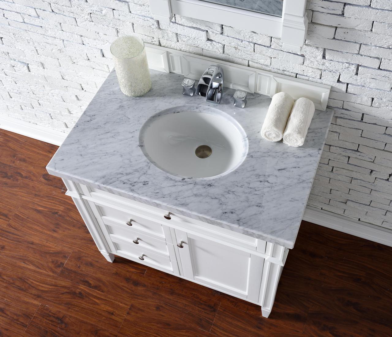 contemporary 36 inch single bathroom vanity white finish, no top