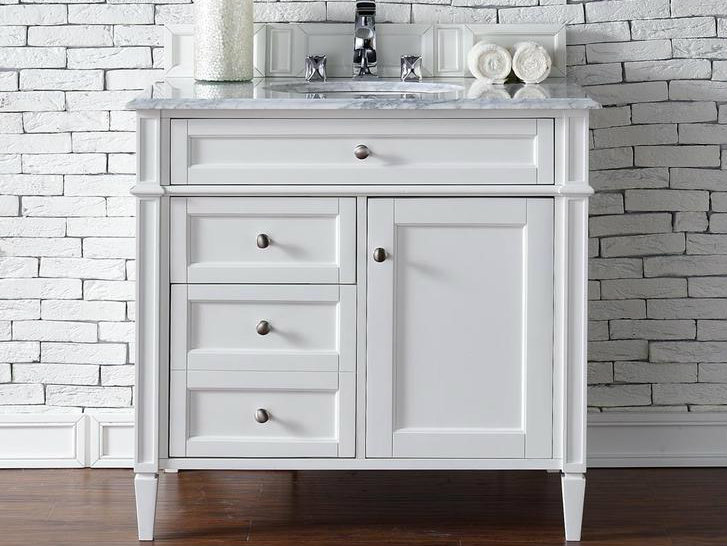 Awesome Contemporary 36 Inch Single Bathroom Vanity White Finish No Top ...