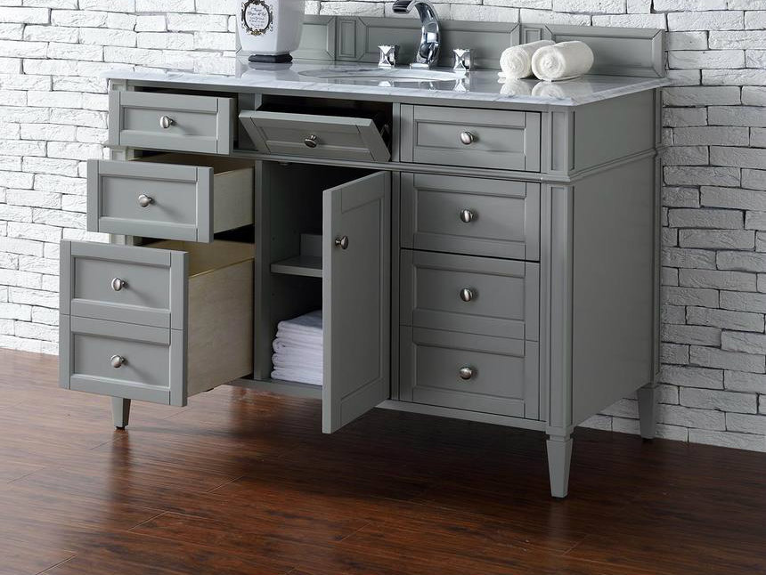 Contemporary 48 inch single bathroom vanity gray finish no top 48 inch bathroom vanity