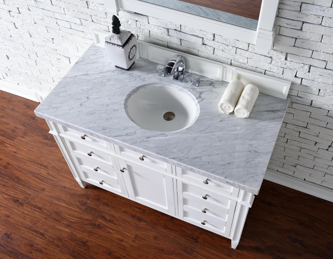 ... Contemporary 48 Inch Bathroom Vanity White Finish No Top ...