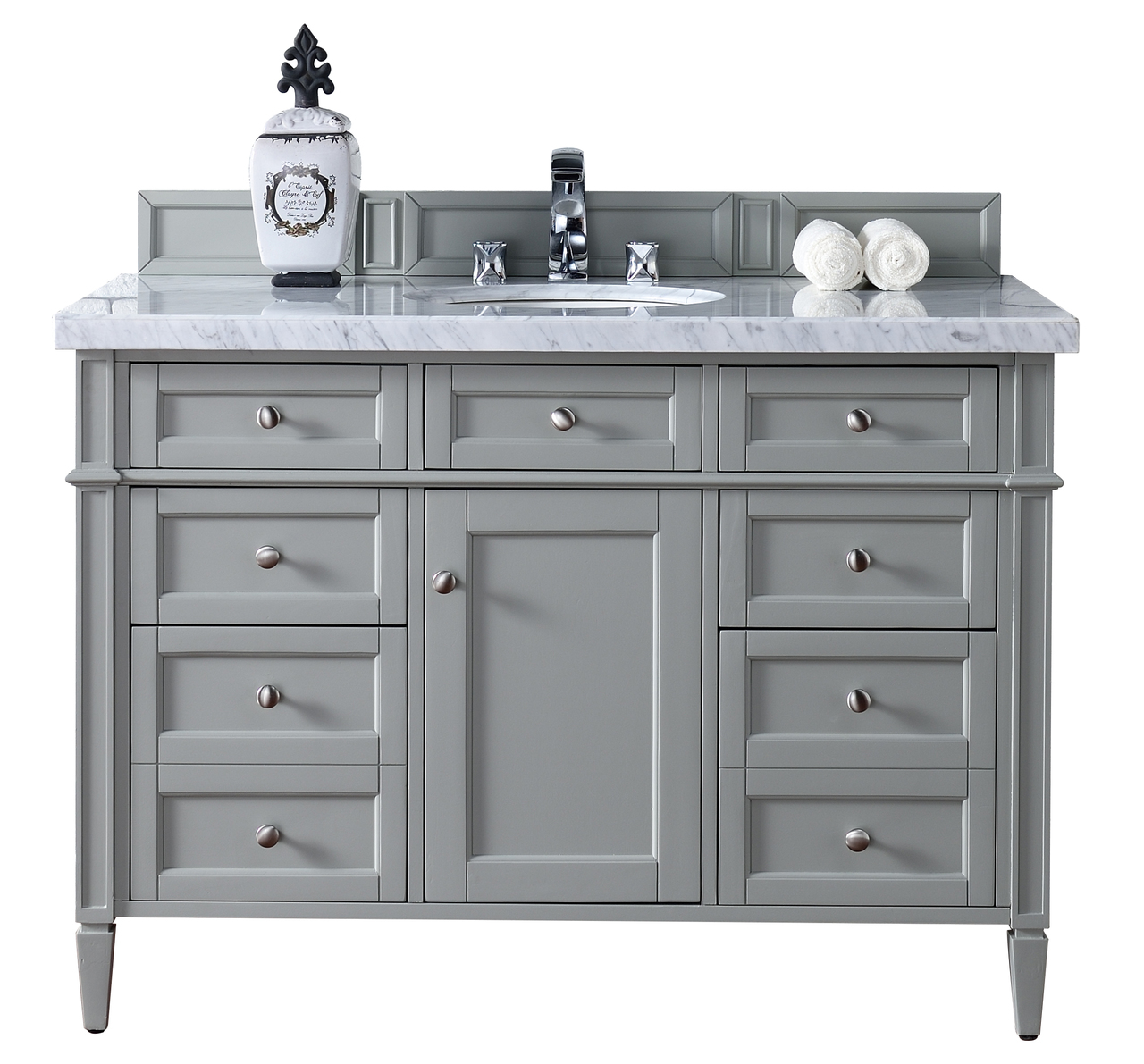 Beautiful Contemporary 48 Inch Single Bathroom Vanity Gray Finish No Top