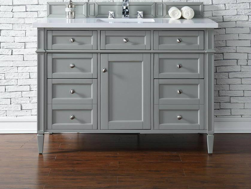 Contemporary Inch Single Bathroom Vanity Gray Finish No Top