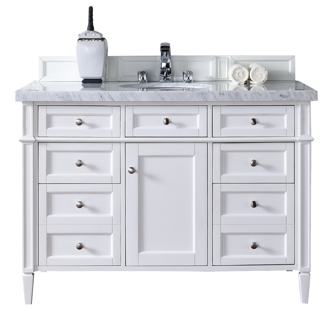 Contemporary 48 inch single bathroom vanity white finish for Bathroom vanities