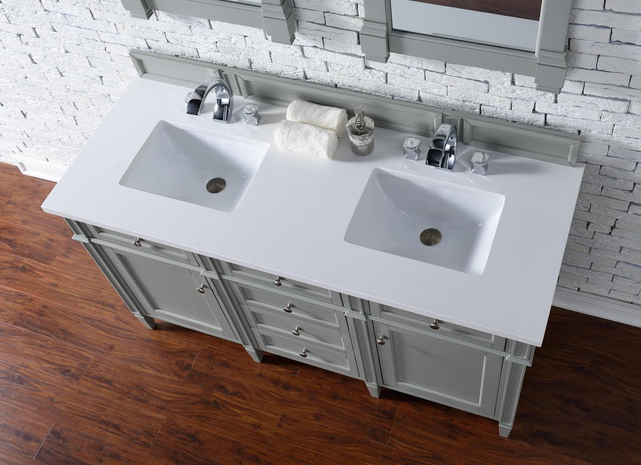 Contemporary  Inch Double Sink Bathroom Vanity Gray Finish No Top - Bathroom vanity no sink