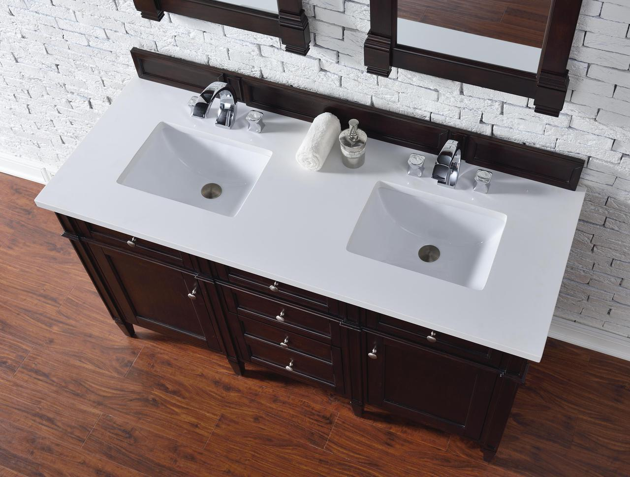 Contemporary 60 Inch Double Sink Bathroom Vanity Mahogany Finish No Top