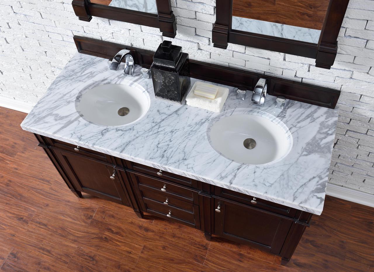 contemporary 60 inch double sink bathroom vanity mahogany finish