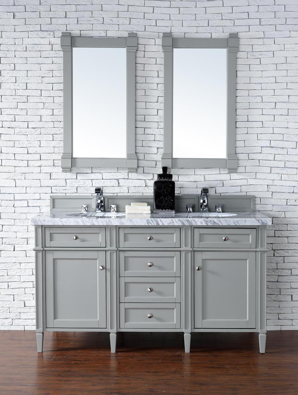 60 Inch Double Sink Contemporary Bathroom Vanity Gray Finish Optional Tops