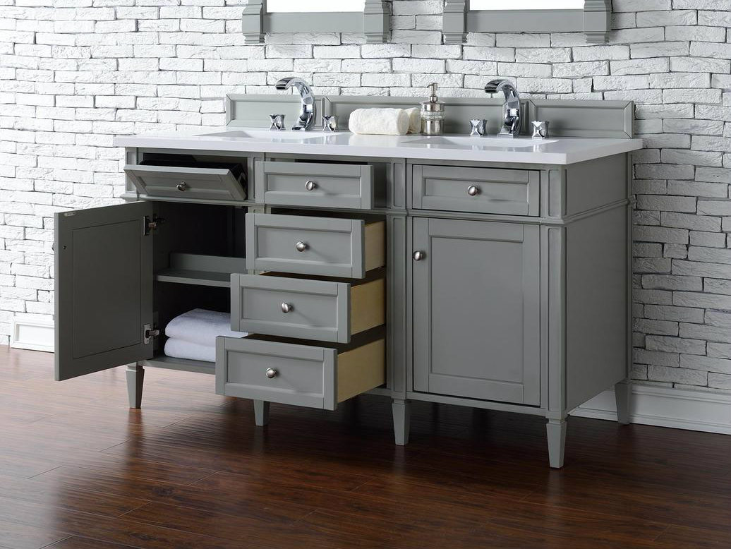 ... No Top Contemporary 60 Inch Double Bathroom Vanity Gray Finish ...