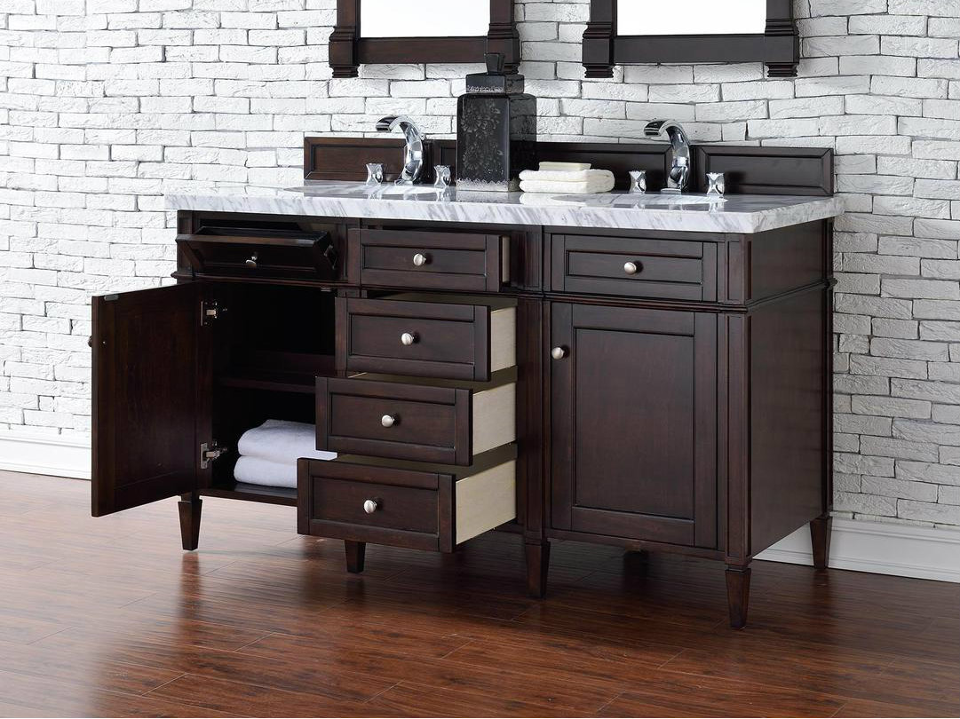 60 double sink vanity.  Contemporary 60 Inch Double Bathroom Vanity Mahogany Finish Sink No Top