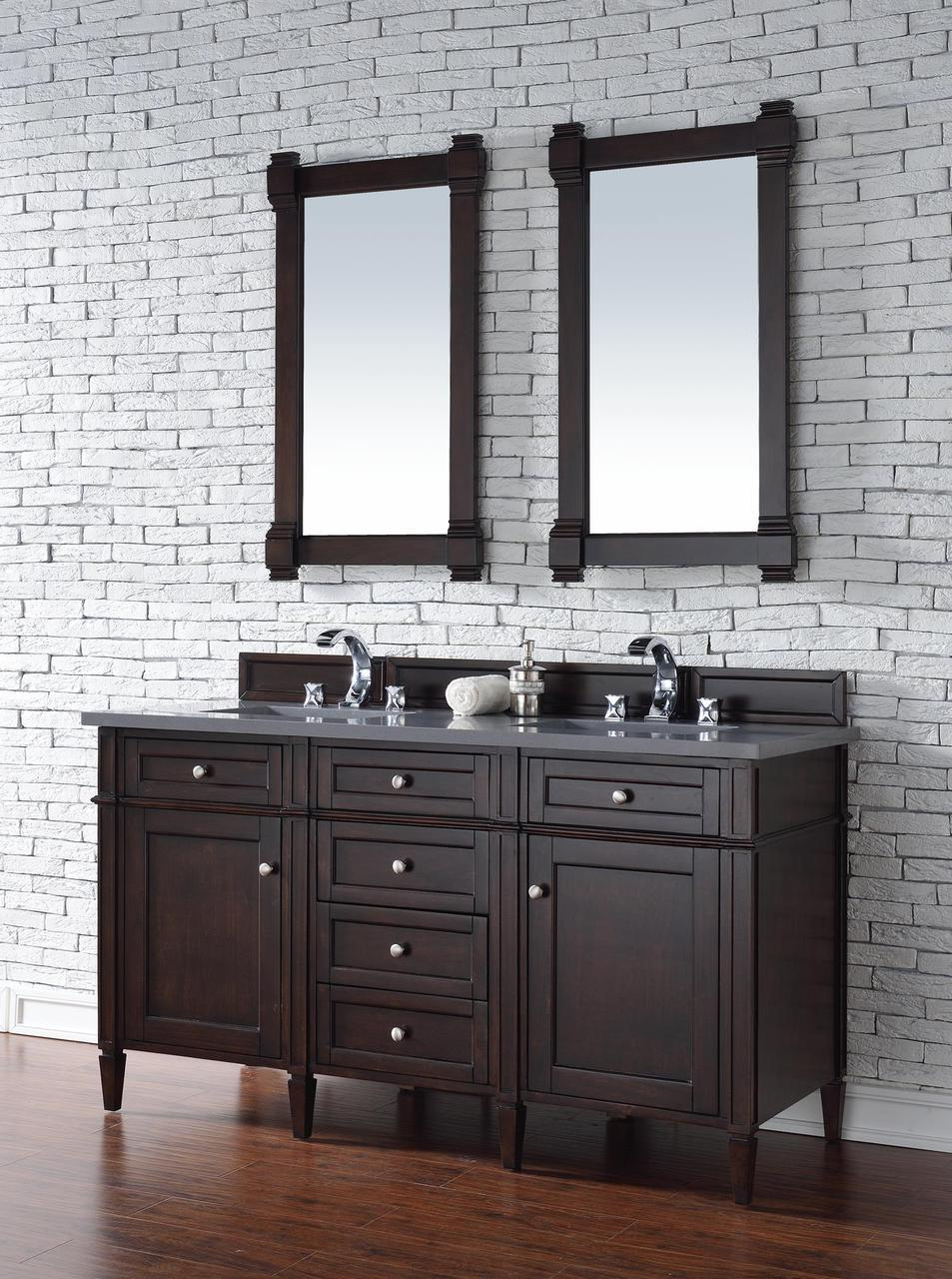 Contemporary 60 Inch Double Sink Bathroom Vanity Gany Finish