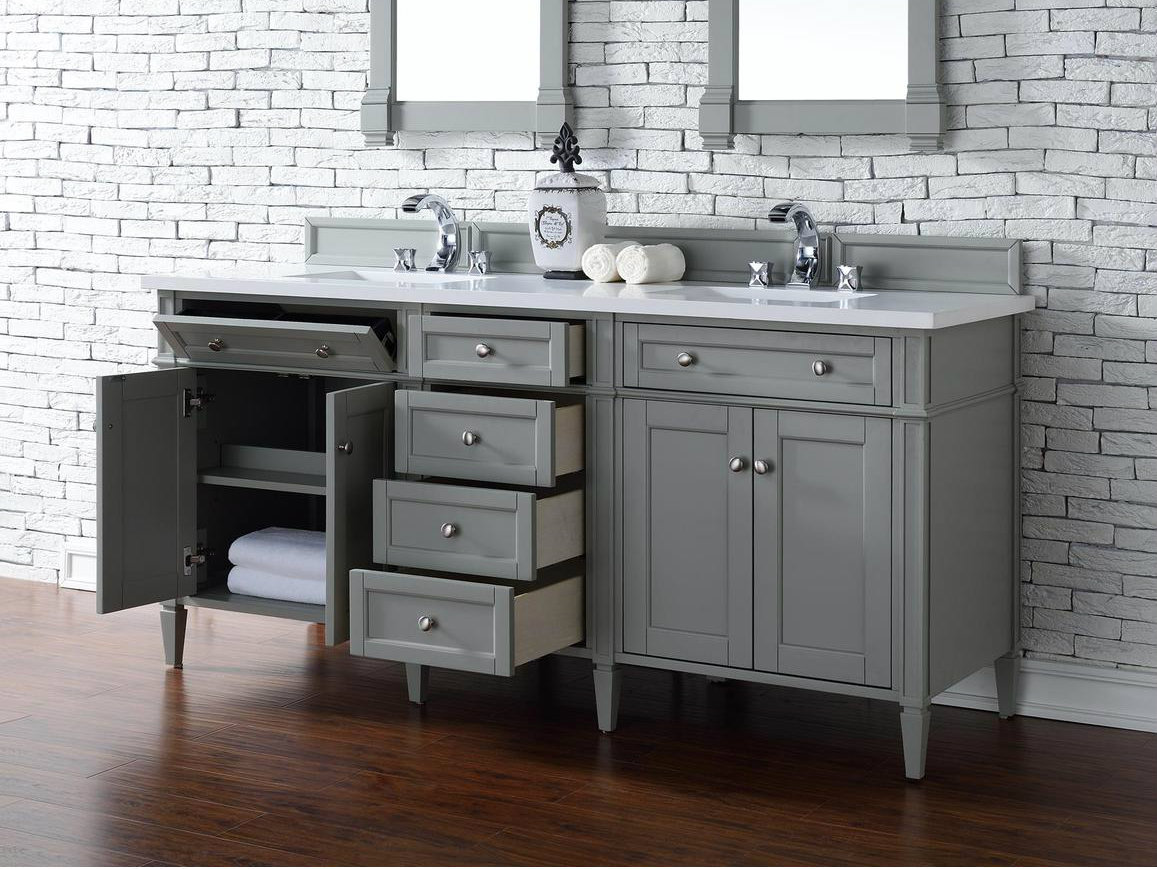 Contemporary 72 inch double sink bathroom vanity gray for Bathroom 72 inch vanity
