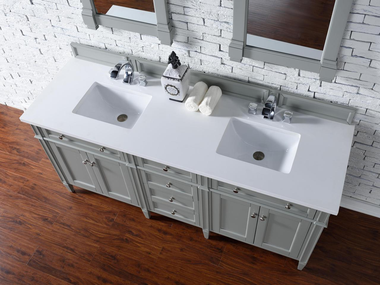 Admirable James Martin Brittany Collection 72 Double Vanity Urban Gray Home Remodeling Inspirations Cosmcuboardxyz