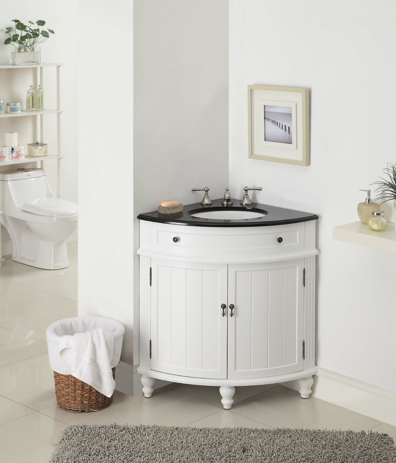 ... Adelina 24 inch Corner Antique Bathroom Vanity White Finish - Adelina 24 Inch Corner Antique Bathroom Vanity White Wood Finish