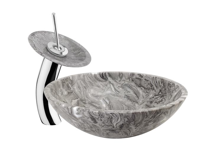 Charmant Stone Vessel Sink Waterfall Faucet DLFHD 711 Combo ...
