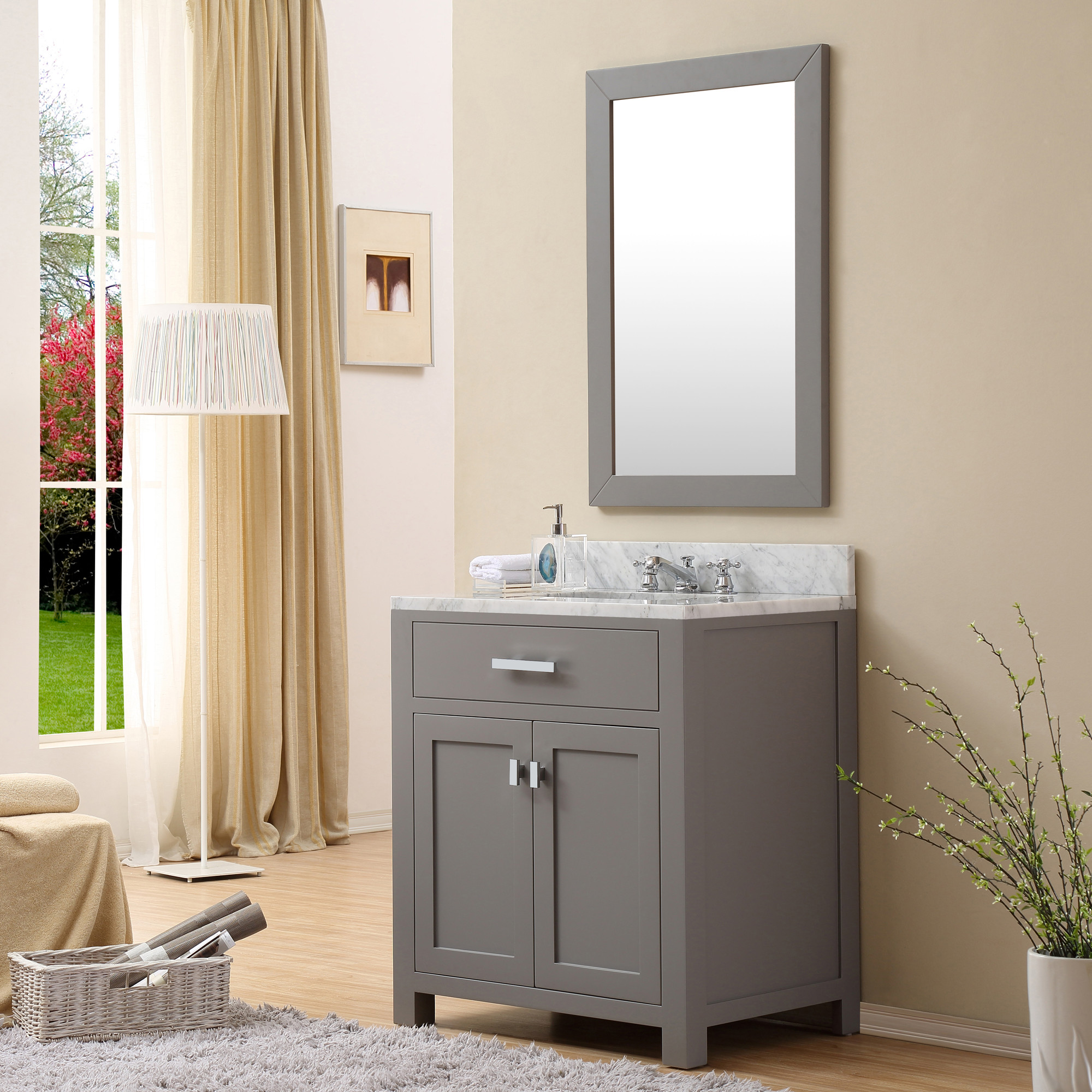 vanity teak sink vessel bathroom cabinet vanities wash grey optional mirror montara gray