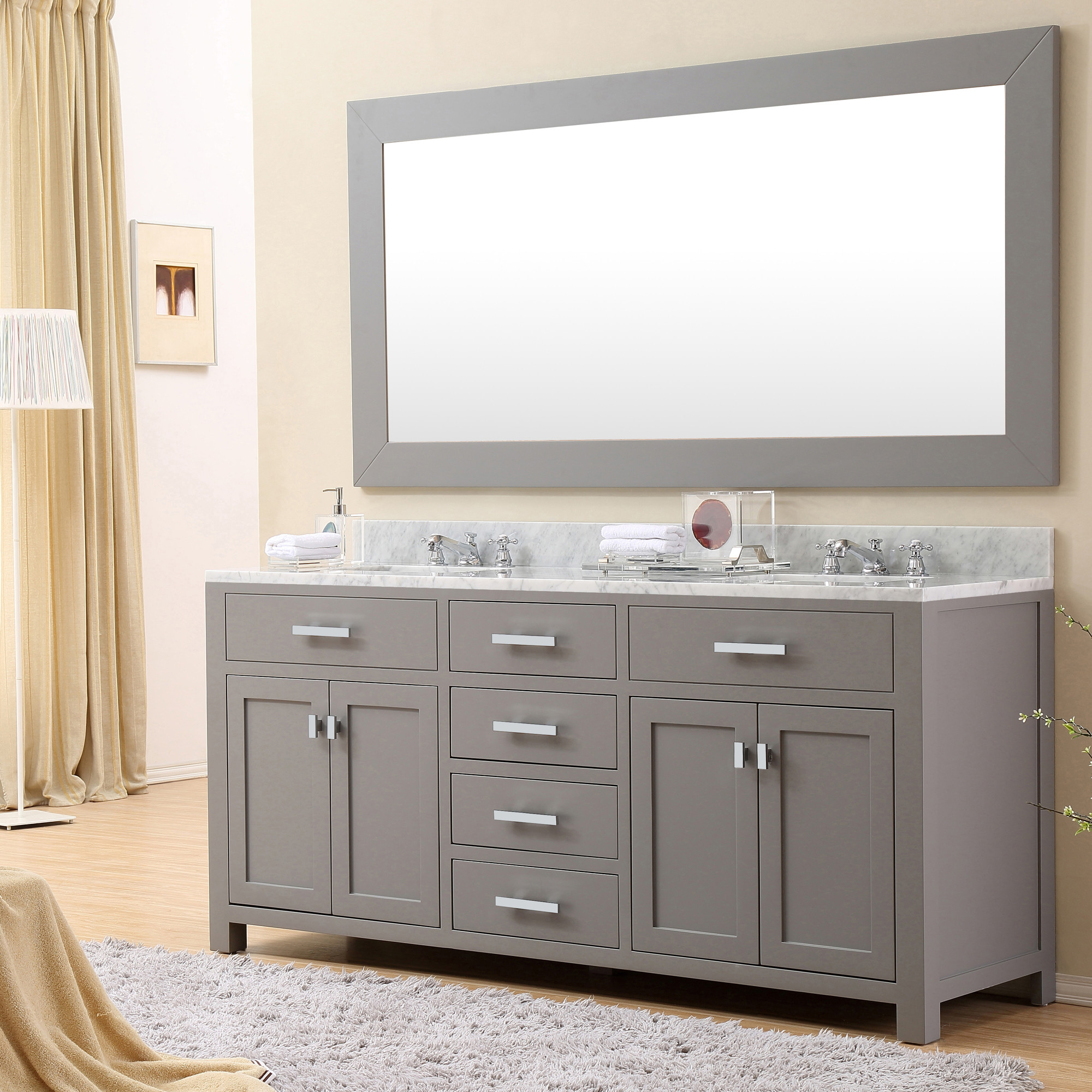 Daston 72 inch gray double sink bathroom vanity carrara white marble top Bathroom cabinets gray