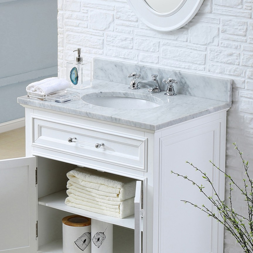 Derby 24 Inch Traditional Bathroom Vanity Solid Wood Construction White Finish