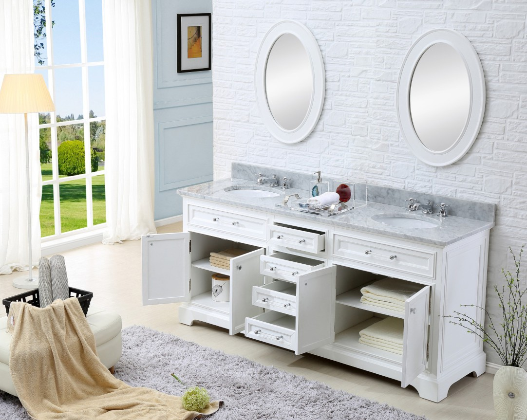 60 inch Traditional Double Sink Bathroom Vanity Marble ...