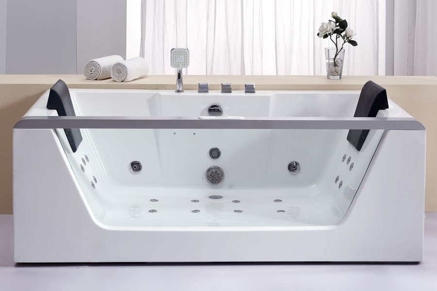 Eago am196ho rectangular whirlpool bath tub free standing for Jet tub bathroom designs