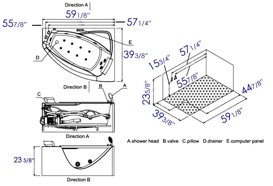 """Eago AM198-L 5"""" Rounded Clear Modern Whirlpool Bath Tub"""