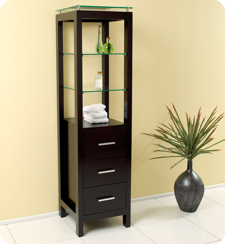 Espresso Bathroom Linen Cabinet 3 Tempered Glass Shelves