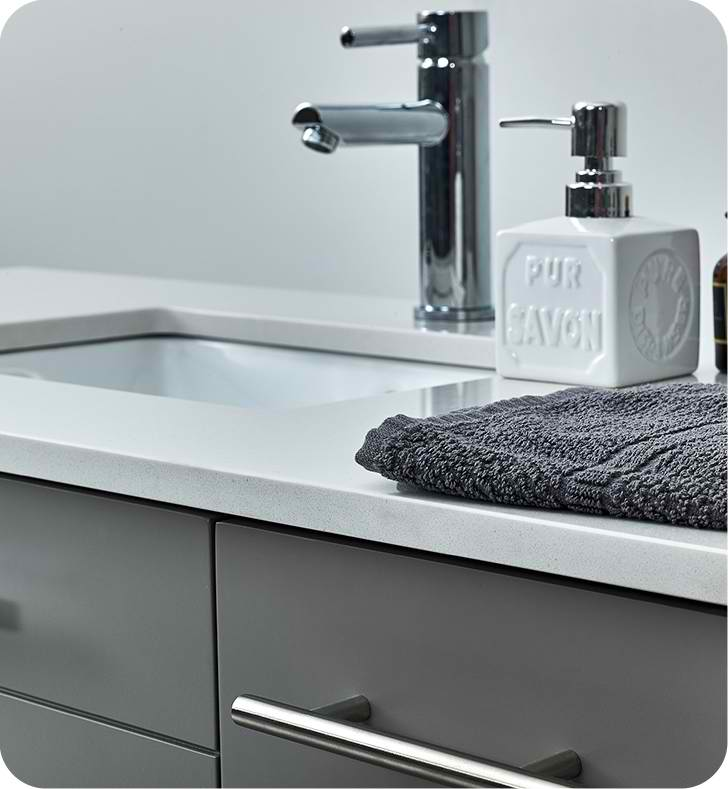 "Fresca Lucera 42"" Gray Wall Hung Undermount Sink Modern ..."