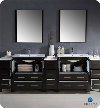 """96"""" modern double sink bathroom vanity with color, faucet"""