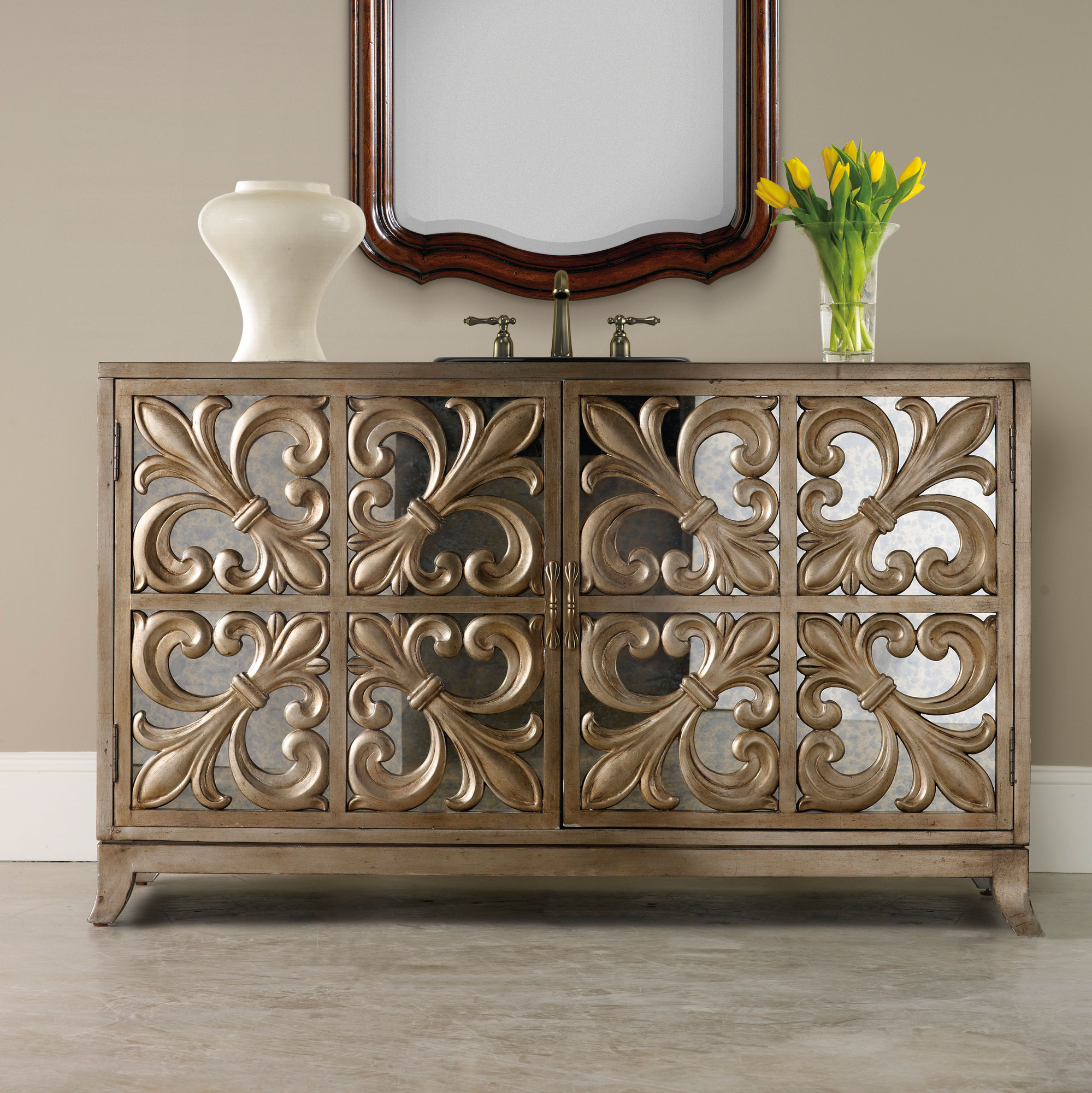 Fleur De Lis 56 Inch Hall Chest Bathroom Vanity Cole U0026 Co.