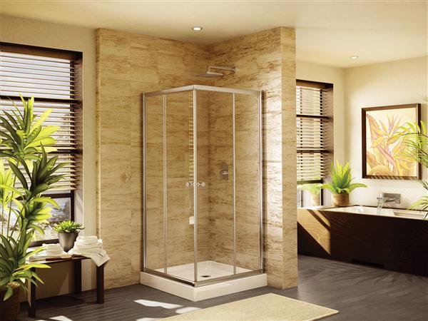 Fleurco banyo amalfi 32 frameless square corner shower doors - Corner shower doors ...