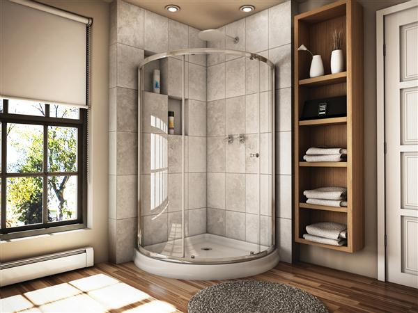 Fleurco Banyo Amalfi 36 Curved Glass Sliding Shower