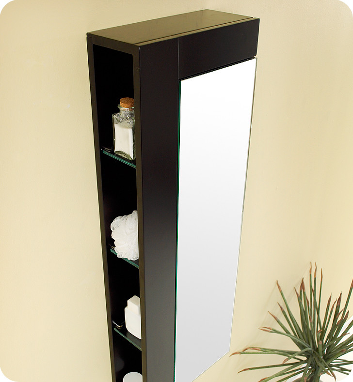 Fresca 39 Inch Espresso Bathroom Linen Side Cabinet Large Mirror Door
