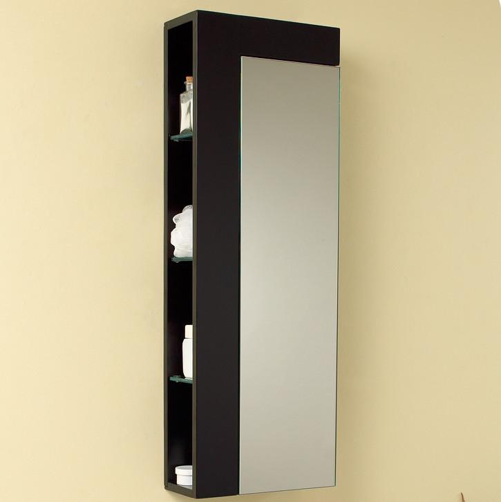 Contempo 39 Inch Espresso Bathroom Linen Side Cabinet Large Mirror Door
