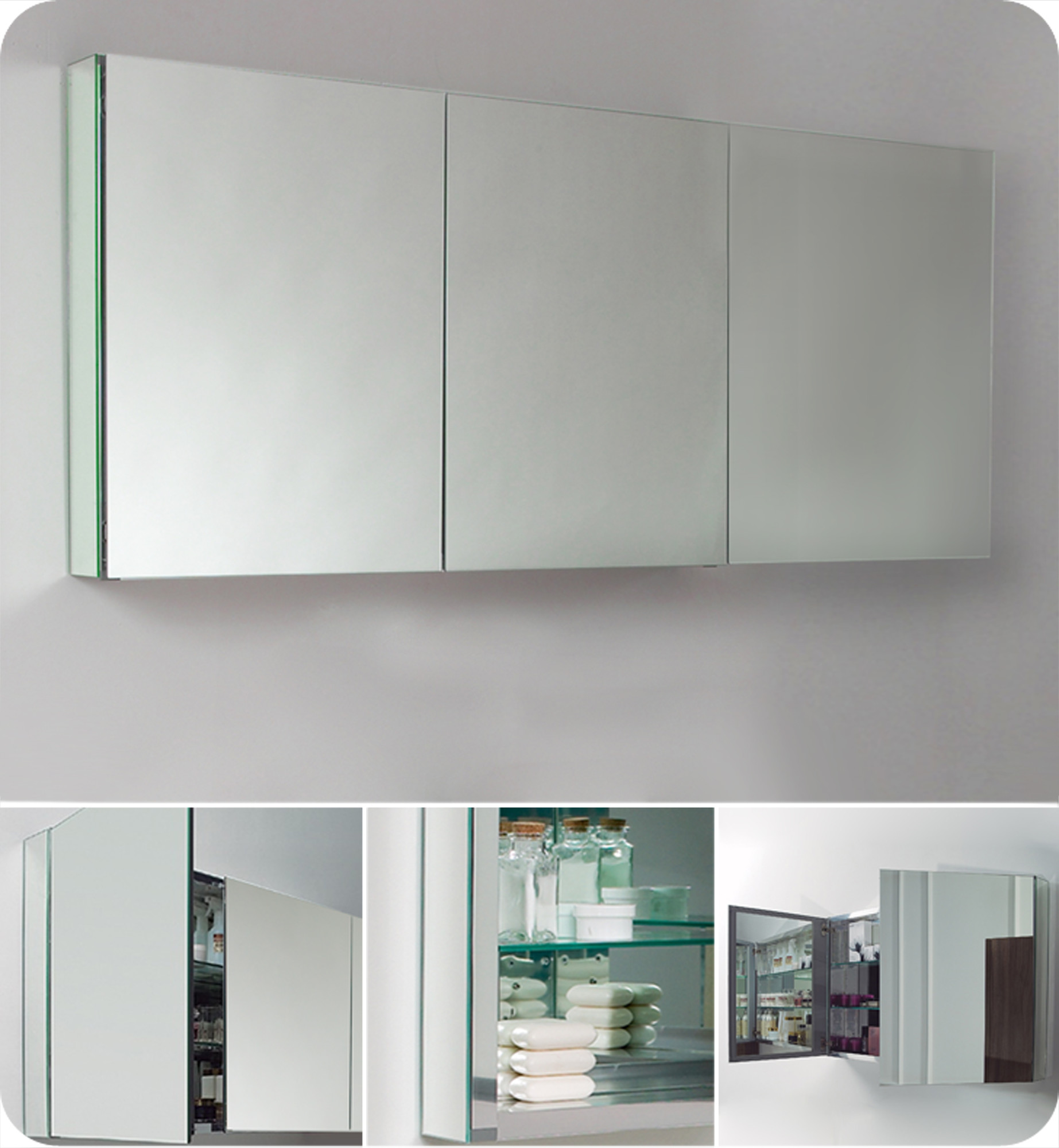 Fresca 60 Inch Wide Bathroom Medicine Cabinet With Mirrors