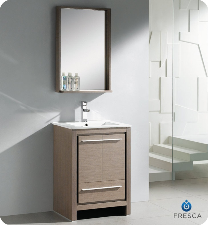 fresca allier 24 modern bathroom vanity grey oak finish