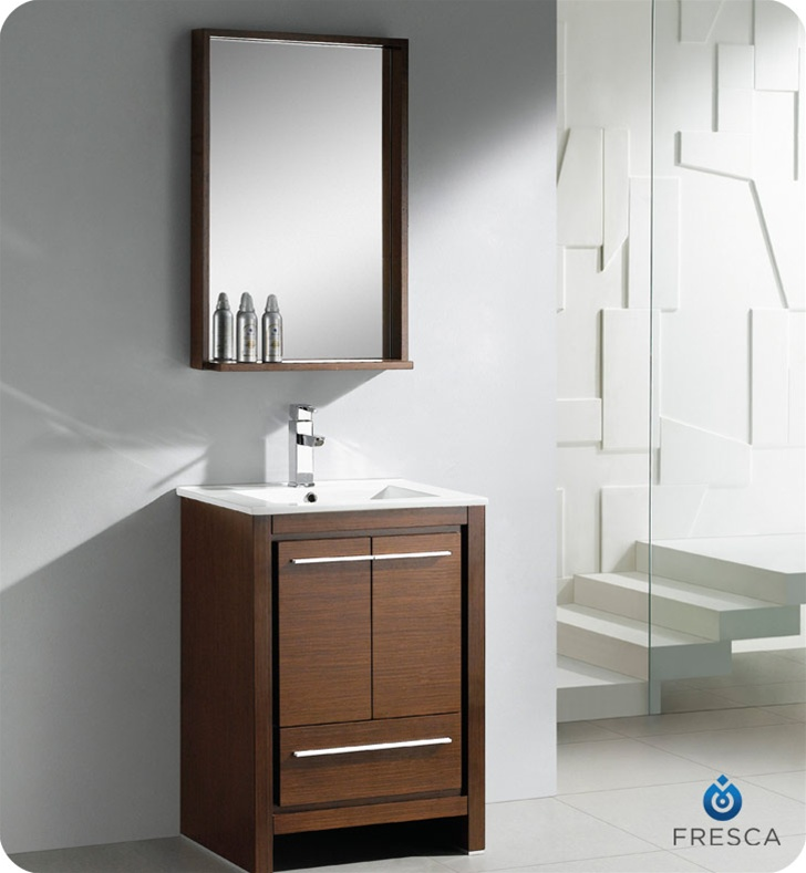 "Narrow 24 Bathroom Vanity fresca allier 24"" wenge brown modern bathroom vanity with mirror"