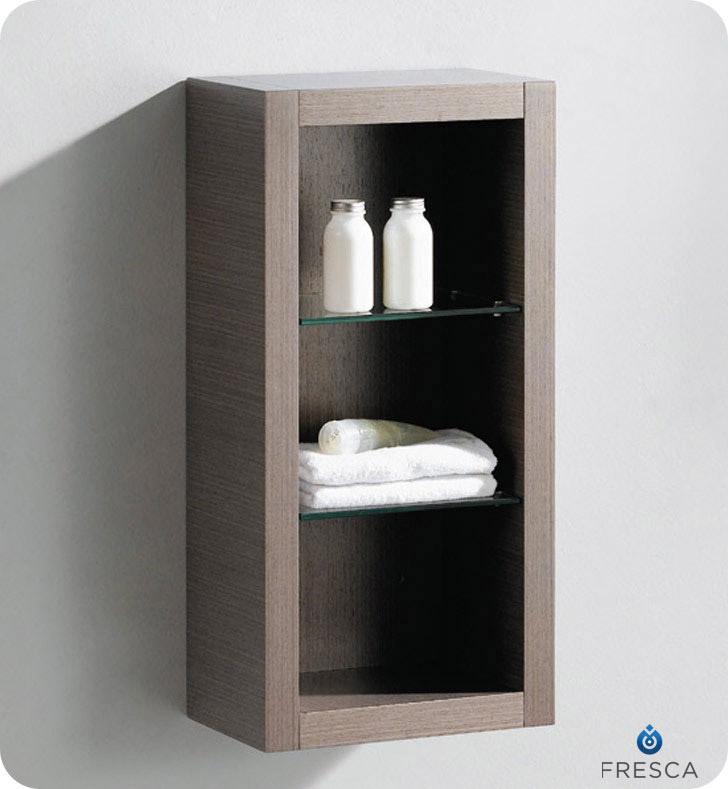 Fresca allier 30 modern bathroom vanity grey oak finish for Colonne salle de bain suspendue