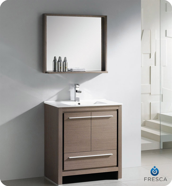 Fresca allier 30 modern bathroom vanity grey oak finish for 30 modern bathroom vanity