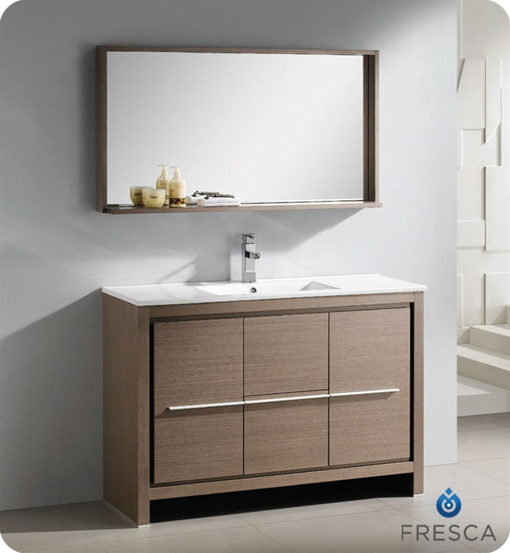 Fresca Allier Modern Bathroom Vanity Grey Oak Finish Free - Modern free standing bathroom vanities