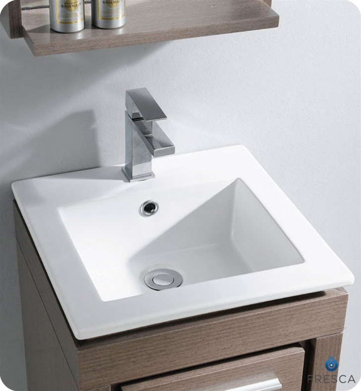 Nice 16 Inch Vanity Sink Part - 1: Fresca Allier Bathroom Vanity Grey Oak Fresca Allier Bath Vanity Grey Oak