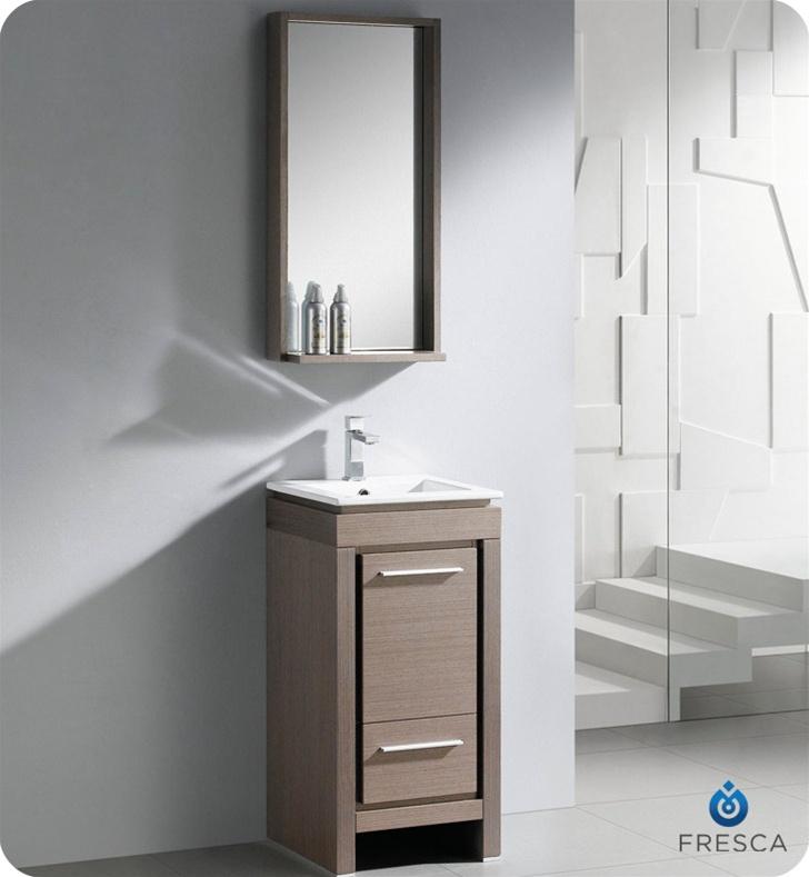 Fresca 16 quot Allier Small Modern Bathroom Vanity Grey Oak Finish  Antique Bathroom  Signs. Modern Bathroom Signs