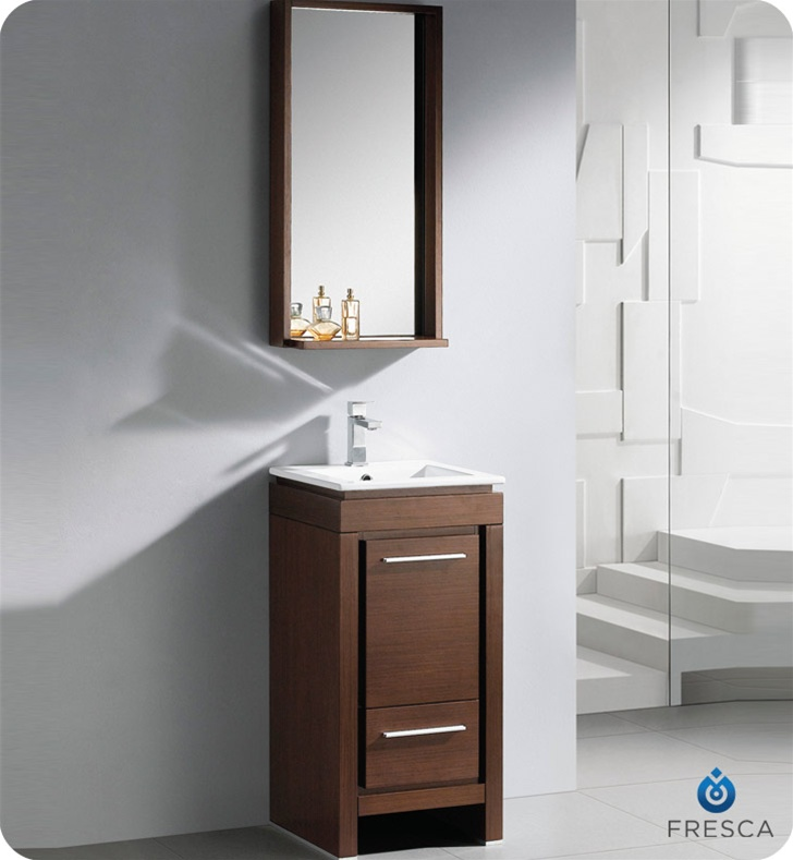 Fresca 16 allier small modern bathroom vanity wenge finish for Double vanity for small bathroom