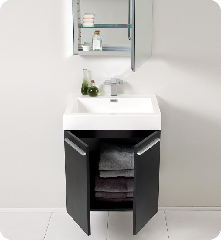 fresca 23 inch black modern bathroom vanity - Small Modern Bathroom Vanities