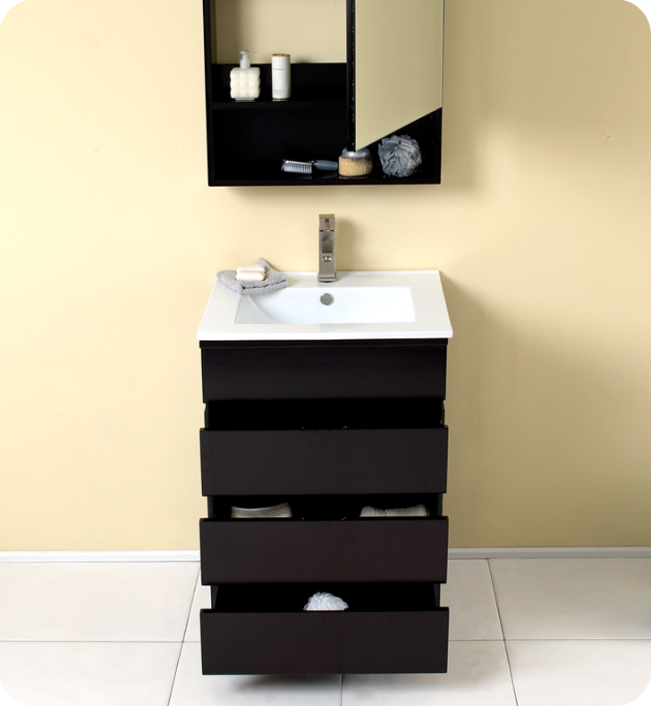 "Modern Bathroom Vanity With Drawers 24"" espresso modern bathroom vanity with medicine cabinet"