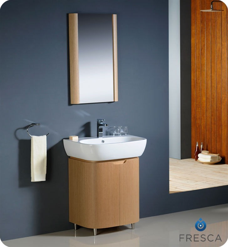 Fresca Andria Light Oak Modern Bathroom Vanity With Mirror Free - Modern free standing bathroom vanities